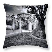 Glasshouse And Tree Throw Pillow