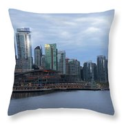Gleaming Cityscape. Vancouver At Dawn  Throw Pillow