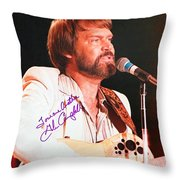 Glen Campbell Autographed Poster Throw Pillow