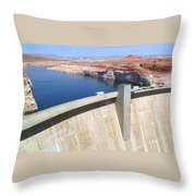 Glen Canyon Dam Throw Pillow by Will Borden