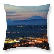 Glenn L Jackson Bridge And Mount Saint Helens After Sunset Throw Pillow