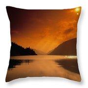 Glenveagh Castle And Lough Veagh Throw Pillow