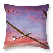 Gliders Over The Devil's Dyke At Sunset Throw Pillow