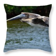 Gliding Pelican Throw Pillow
