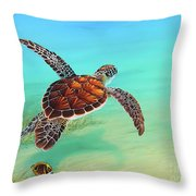 Gliding Through The Sea Throw Pillow