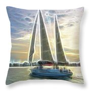 Glimmering Sailboat Throw Pillow by Ella Char
