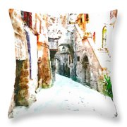 Glimpse Of Ancient Houses Throw Pillow