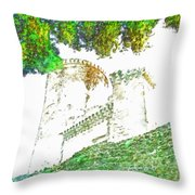 Glimpse Of The Castle Walls And Towers Throw Pillow
