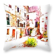 Glimpse Of The External Houses Of The Village Throw Pillow