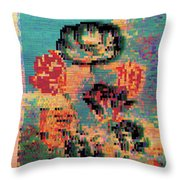 Glitched Tulips Throw Pillow