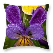 Glittered Wild Pansies Throw Pillow