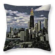 Glittering Chicago Christmas Tree Throw Pillow