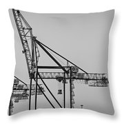 Global Containers Terminal Cargo Freight Cranes Bw Throw Pillow