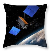 Global Positioning System Satellite In Orbit Throw Pillow