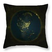 Globe Lights America Throw Pillow