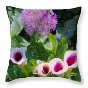 Globe Thistle And Calla Lilies Throw Pillow by Corey Ford