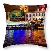 Globes On The Bund At Night Throw Pillow
