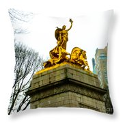Gloden Maine Statue By Central Park New York Throw Pillow