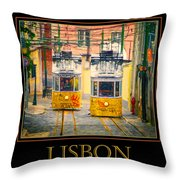 Gloria Funicular Lisbon Poster Throw Pillow