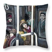 Gloria Swanson In Subway Scene From Manhandled Throw Pillow