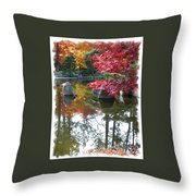 Glorious Fall Colors Reflection With Border Throw Pillow