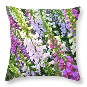 Glorious Foxgloves Throw Pillow