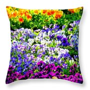 Glorious Pansies Throw Pillow