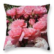 Glorious Pink Roses Throw Pillow