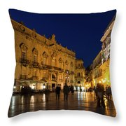 Glossy Outdoor Living Room - Passeggiata On Piazza Duomo In Syracuse Sicily Throw Pillow