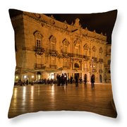 Glossy Outdoor Living Room - Syracuse Sicily Italy Throw Pillow