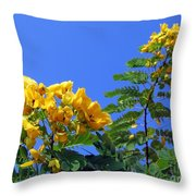 Glossy Shower Senna Tree Throw Pillow