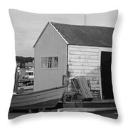 Gloucester Boathouse In Black And White Throw Pillow