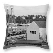 Gloucester Harbor Scene In Black And White Throw Pillow
