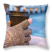 Gloved Hands Holding Coffee Cup Throw Pillow