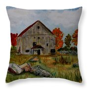 Glover Barn In Autumn Throw Pillow