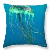 Glow Green Jellyfish Throw Pillow