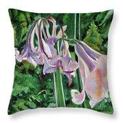 Glowing Amaryllis Throw Pillow
