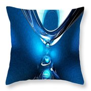 Glowing Blue Abstract Throw Pillow