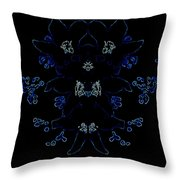 Glowing Blue Blossoms Throw Pillow