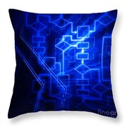 Glowing Blue Flowchart Throw Pillow