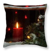 Glowing Christmas Candle In Frosted Home Window Throw Pillow