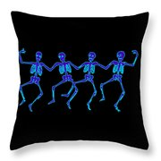 Glowing Dancing Skeletons Throw Pillow