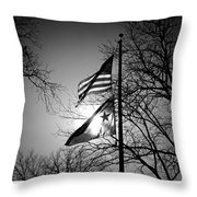 Glowing Flags Throw Pillow