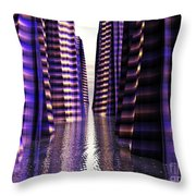 Glowing Lights Of An Electric Canyon Throw Pillow