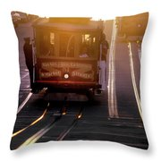 Glowing Magical Cable Cars On Nob Hill Throw Pillow