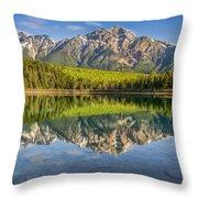 Glowing Morning At Pyramid Mountain Jasper Alberta Throw Pillow