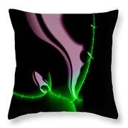 Glowing Night Flower Fractal Art Throw Pillow