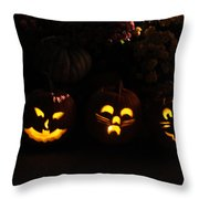 Glowing Pumpkins Throw Pillow