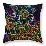 Glowing Sunflowers Throw Pillow