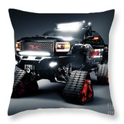 Gmc Pickup Truck On Snow Tracks Throw Pillow